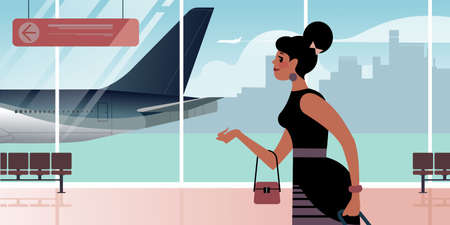 Girl at the airport departure hall. Scenes from the life of an air traveler. Flat design vector illustration.