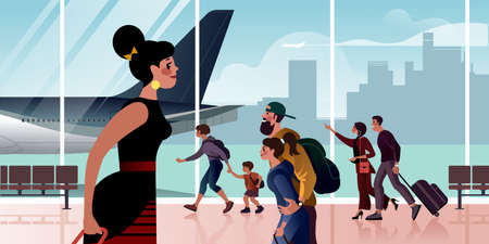 Girl and life is in full swing at the airport departure hall. Flat design vector illustration.