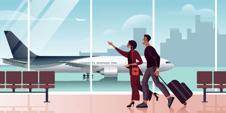 A guy and a girl are watching the departure schedule of their flight in the departure hall. Scenes from the life of air passengers. Flat design Vector illustration