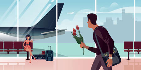 A guy with three tulips in his hand meets a girl in the airport arrival hall. Scenes from the life of an air passenger. Flat design Vector illustration.