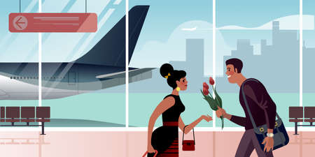 A guy with flowers meets a girl in the airport arrival hall. Scenes from the life of an air passenger. Flat design vector illustration. Иллюстрация