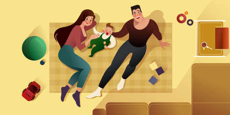 A young couple plays with a newborn on the carpet in the children's room. Top view. Family life scene. Flat graphic vector illustration.
