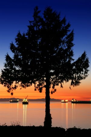 Sunset of downtown Vancouver, English Bay photo