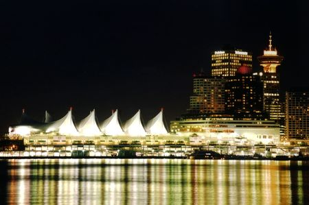 Night scene of downtown Vancouver, English Bay