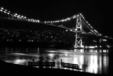 Night scene of Lions Gate Suspension Bridge Gateway, Vancouver Canada Stock Photo - 5139715
