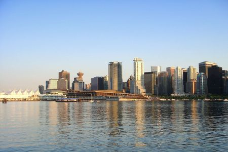 Day scene of downtown Vancouver, BC Canada photo