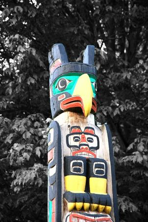 stanley: Indian painted totem poles in Stanley Park