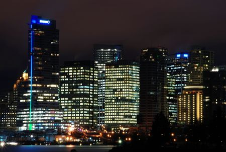 port stanley: Night scene of downtown Vancouver, BC Canada. View from Stanley Park Stock Photo