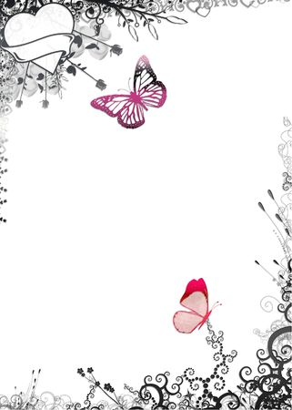 christmas backdrop: Nature frame with butterflies