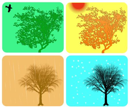 Four season colorful background with different actions Stock Photo - 5450473