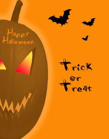Happy halloween with evil pumpkin photo