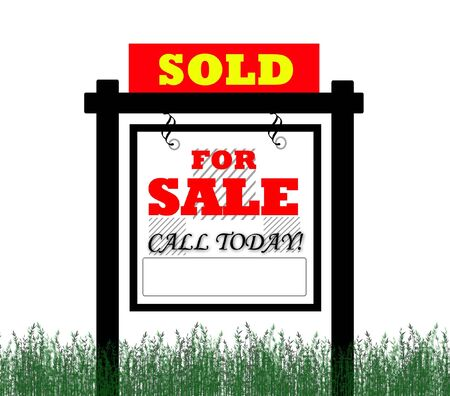Sold for sale real estate sign Stock Photo - 5490021