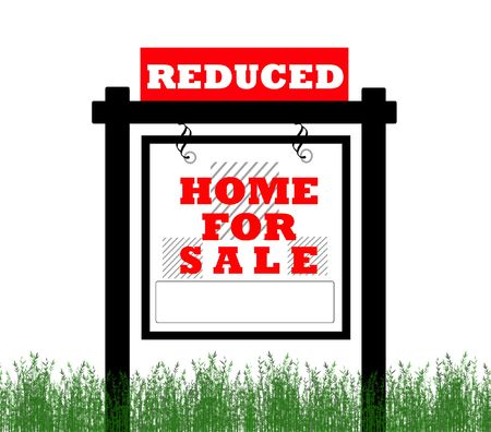 Real Estate home for sale sign, price reduced  photo