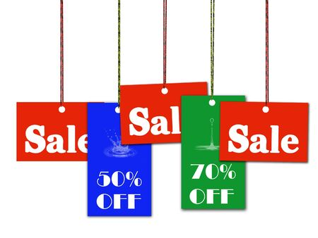 Hanging sale and discount tag Stock Photo - 5587551