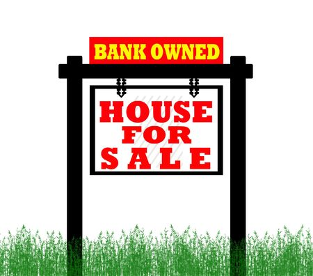 wording: Real Estate home for sale sign, bank owned  Stock Photo