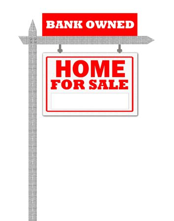 owned: Real Estate home for sale sign, bank owned  Stock Photo