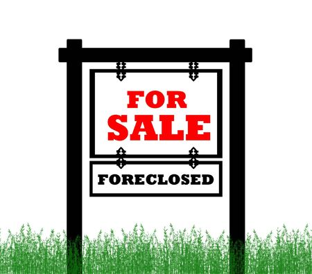 foreclosed: Real Estate home for sale sign, foreclosed  Stock Photo