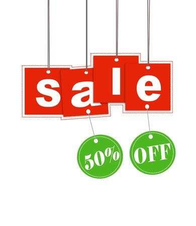Hanging sale letter and discount tag with clipping path  Stock Photo - 5623639