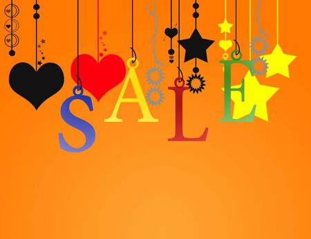 Hanging sale letter with clipping path on orange background Stock Photo - 5623640