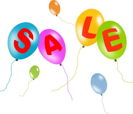 Colorful balloons sale with clipping path Stock Photo - 5623648