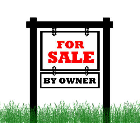home owner: Real Estate home for sale sign, by owner Stock Photo