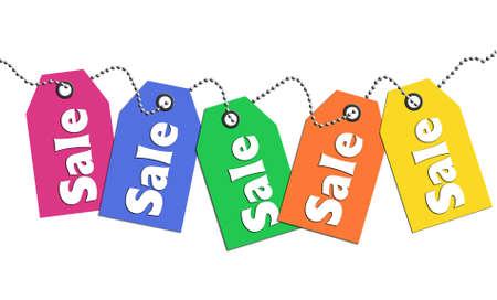 Colorful sale tags Archivio Fotografico