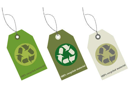 material: Recycled material tags with clipping path