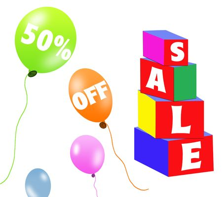 Sale brick and balloons Stock Photo - 5666200