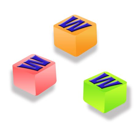 http: Three letter blocks spelling www on white background
