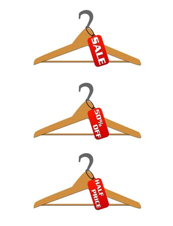 hangers: Three hangers with sale and discount tags