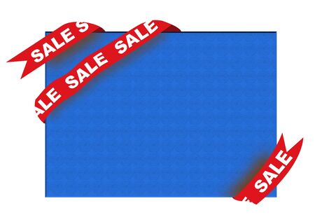 Red corner ribbon with sale sign on blue background Stock Photo - 5737543