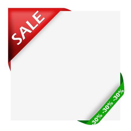 nastro angolo: Nastro d'angolo rosso con il segno di vendita e il trenta per cento di sconto per il tuo negozio Archivio Fotografico