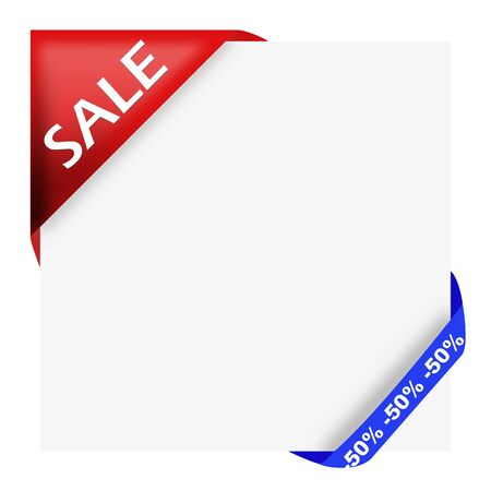 Red corner ribbon with sale sign and fifty percent off for your shop photo