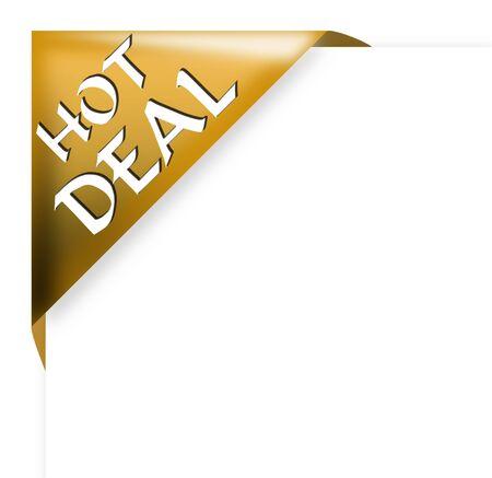 Golden corner ribbon with hot deal sign 版權商用圖片