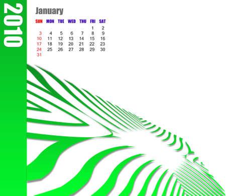 January of 2010 Calendar Stok Fotoğraf