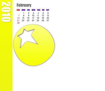 scheduler: February of 2010 calendar Stock Photo