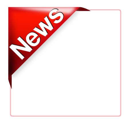 赤コーナー リボン ニュース記号 写真素材