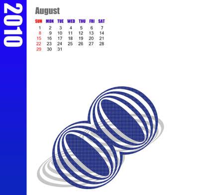 diary: August of 2010 calendar Stock Photo