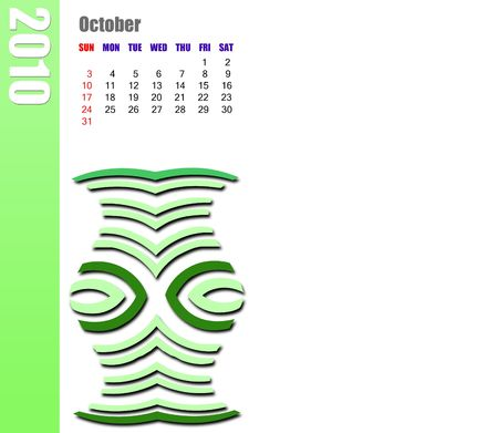 October of 2010 calendar