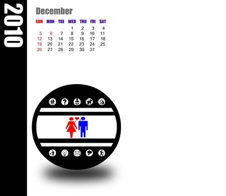 december: December of 2010 calendar Stock Photo