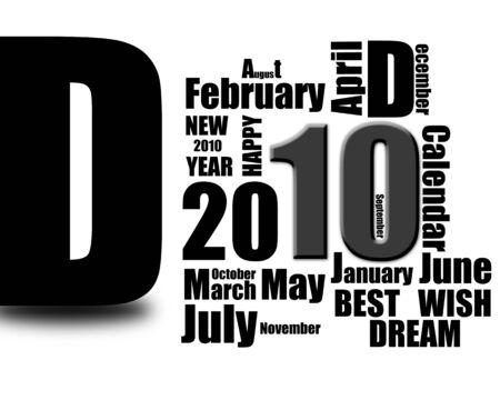 monthly calendar: Calendar of 2010 poster