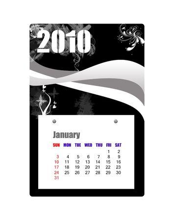scheduler: January of 2010 Calendar  Stock Photo