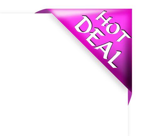 Purple corner ribbon with hot deal sign  Archivio Fotografico