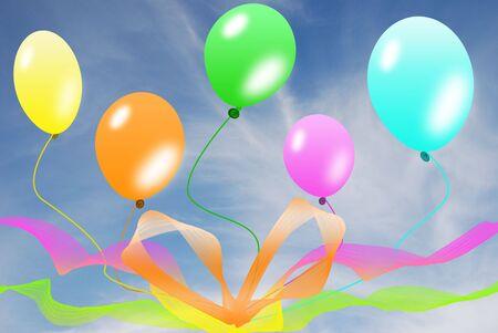 Balloons on blue sky  photo