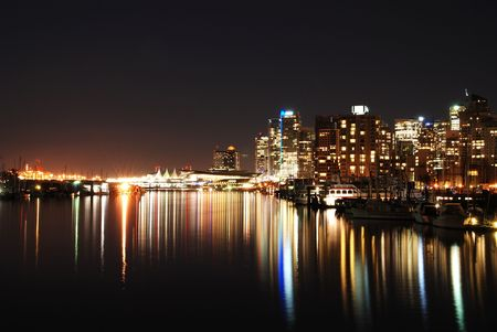 stanley: Night city view of downtown Vancouver in Stanley Park, Canada