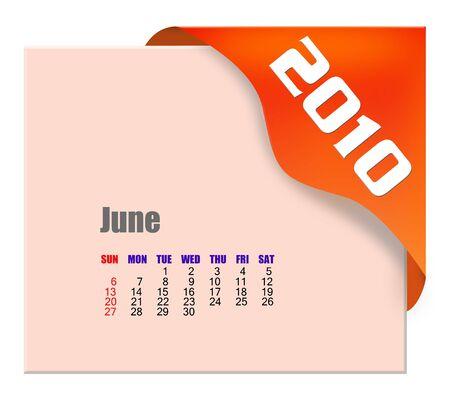 June of 2010 Calendar