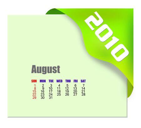 scheduler: August of 2010 Calendar