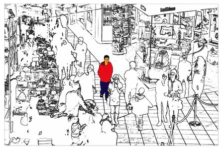 Illustration sketch of market full of shopping people