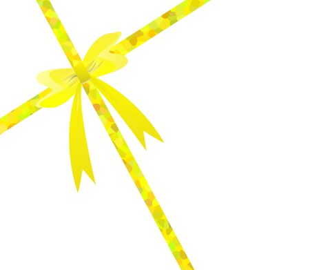 Yellow gift ribbon bow on white card  photo