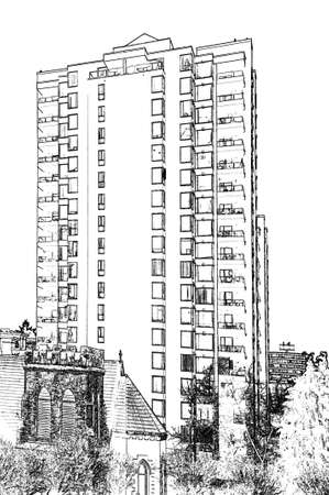 Abstract sketch of building city view